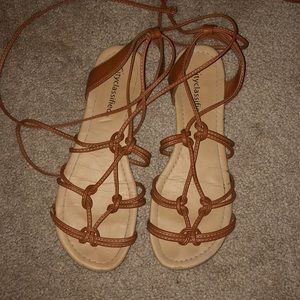 Brown tie up sandals